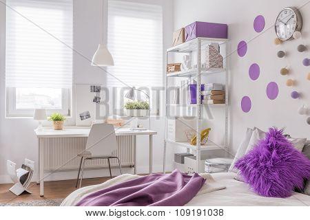 Purple And White Room Design