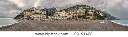 Panoramic View Of Positano On Amalfi Coast In Italy