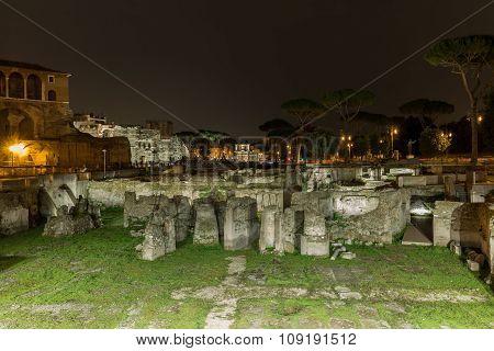 Roman Ruins Of Foro Traiano In Rome, Italy