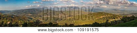 Panoramic Of Umbrian Hills In Italy Taken From Preggio