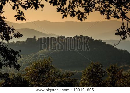 Hilltop Village Of Preggio In The Hills Of Umbria