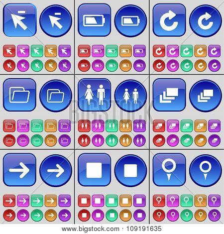 Cursor, Battery, Reload, Folder, Silhouette, Gallery, Arrow Right, Media Stop, Checkpoint. A Large