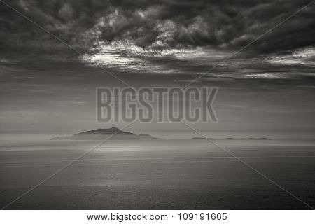 B&w Image Of Mist Surrounding The Italian Islands Of Isola D'ischia And Procida