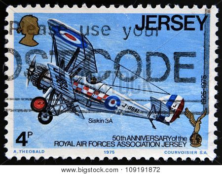 JERSEY - CIRCA 1975: a stamp printed in Jersey shows Siskin 3A Plane circa 1975