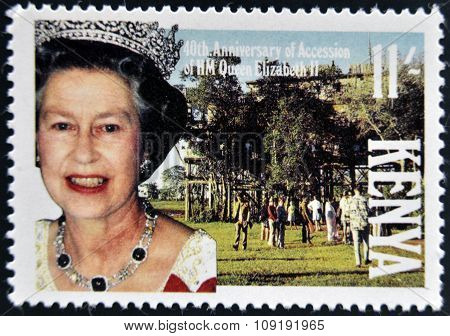 KENYA - CIRCA 1988: A stamp printed in Kenya shows Queen Elizabeth II circa 1988