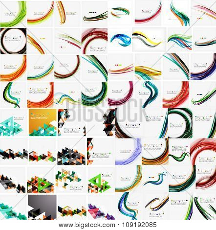 Mega collection of wave abstract backgrounds with copy space. For business tech design templates, web design, presentations. illustration