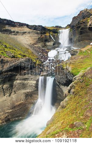 Beautiful Icelandic waterfall Ofaerufoss in Eldgja. It is located on the South of the island.