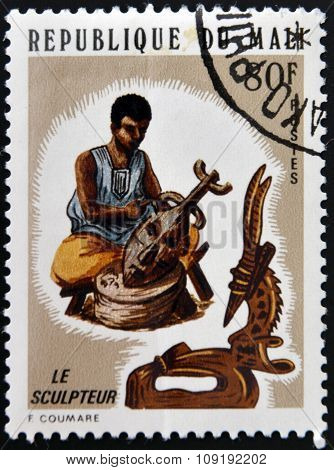 MALI - CIRCA 1970: A stamp printed in Mali dedicated to sculpture circa 1970
