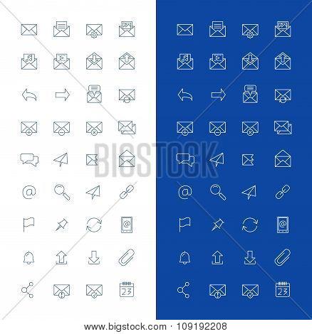 Email Line Art Design Vector Icon Set. Envelope, Link, Download, Calendar, Send