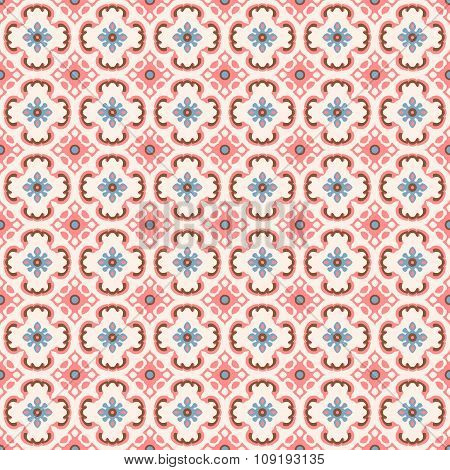 Seamless background image of vintage pink geometry flower shape pattern.