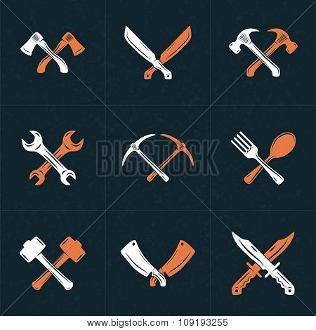 Set Of Vector Retro Design Elements For Logotypes. Crossed Tools. Axes, Knifes, Hammer, Wrench, Spoo