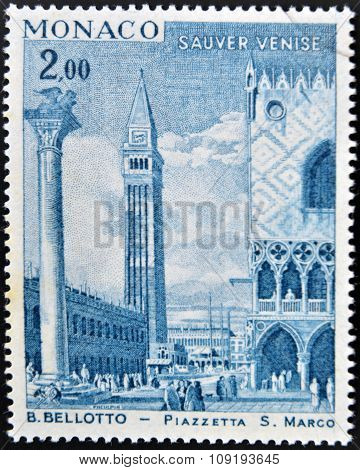 MONACO - CIRCA 1972: A stamp printed in Monaco shows view of St Mark's Square (Piazza San Marco)