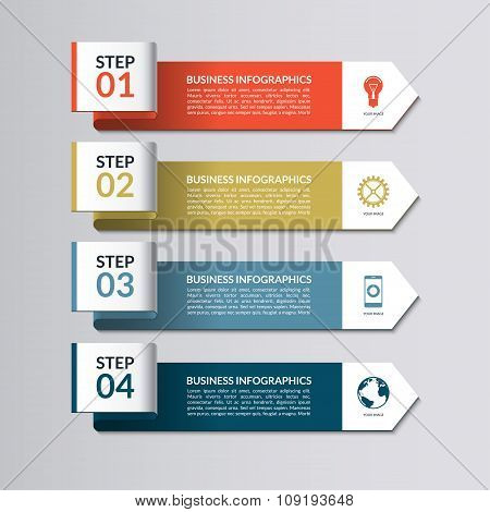 Infographic template. Curved paper arrows