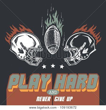 Play Hard American Football Illustration