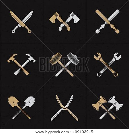 Set Of Vector Retro Design Elements For Logotypes. Crossed Tools. Axes, Knifes, Hammer, Wrench, Shov