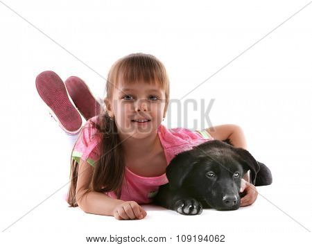 Little cute girl with puppy isolated on white