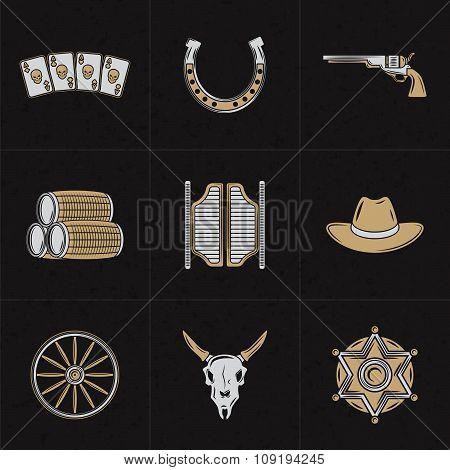 Set Of Vector Design Elements For Logotypes. Vintage Styled Wild West Illustrations. Horseshoe, Salo