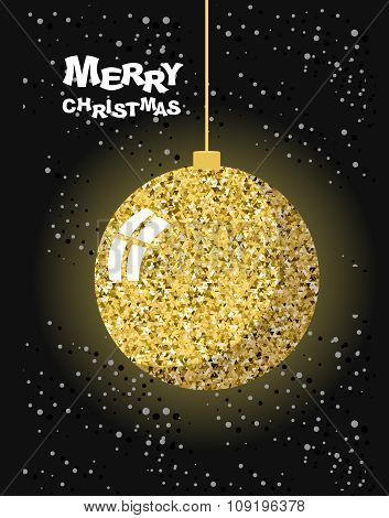 Merry Christmas. Gold Christmas Tree Toy Ball And Snow. Strict Greeting Card For New Year. Luxury De