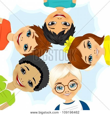 multi ethnic group of children forming a circle