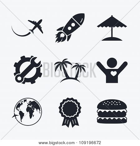 Travel trip icon. Airplane, world globe symbols.
