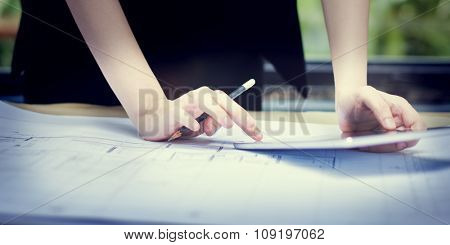 Businesswoman Thinking Planning Strategy Working Plan Concept