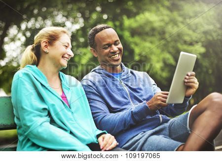 Couple Exercise Healthy Digital Device Connection Concept