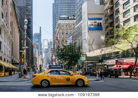 Taxi On The Street Of New York