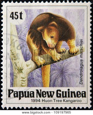 A stamp printed in Papua shows a Huon Tree Kangaroo (dendrolagus matschiei)
