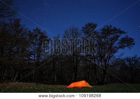 lighting tent, woods and blue starry night in Nebrodi Park, Sicily