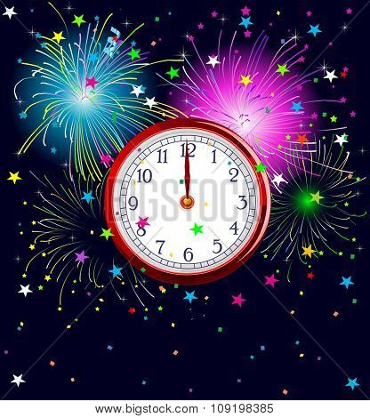 Illustration of New Year background with clockwork