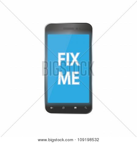 broken phone with a problem which ask you to fix him Icon for repair smartphones