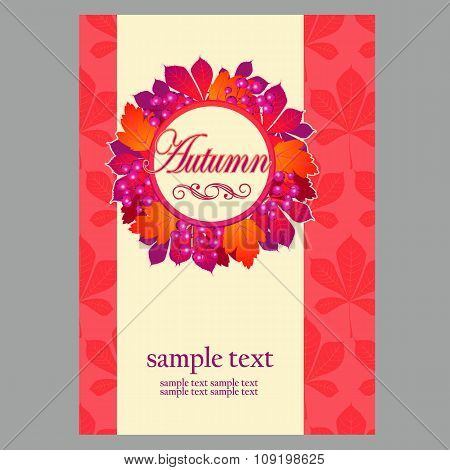 Card in red colors with wreath leaves for your business needs