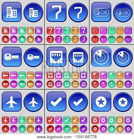 Building, Seven, Approval, Roulette, Lan Socket, Radar, Airplane, Tick, Star. A Large Set Of Multi-