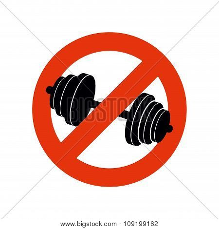 Stop Bodybuilding. Ban Sport. Prohibiting Sign For Fitness. Red Strikethrough.
