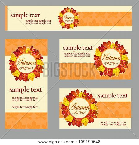 Set of cards in the same style and different size and shape for your business needs, in yellow