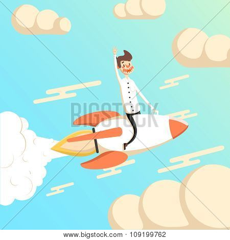 Rocket and businessman fly in the sky start up concept.