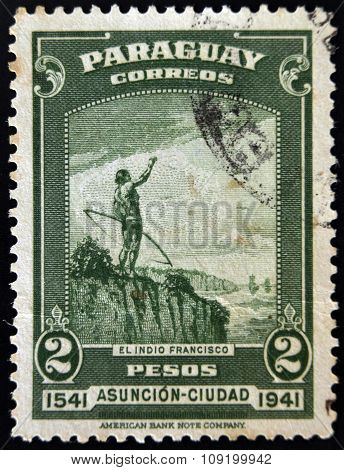 PARAGUAY - CIRCA 1941: A stamp printed in Paraguay shows Indian Francisco circa 1941