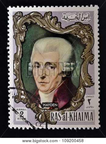 RAS AL-KHAIMAH - CIRCA 1970: a stamp printed in the Ras al-Khaimah shows Joseph Haydn circa 1970
