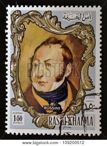 RAS AL-KHAIMAH - CIRCA 1970: a stamp printed in the Ras al-Khaimah shows Gioacchino Rossini