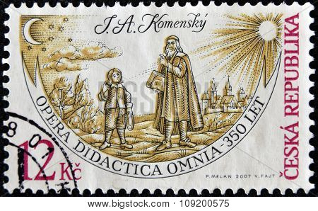 CZECH REPUBLIC - CIRCA 2007: A stamp printed in Czech Republic shows John Amos Comenius opera