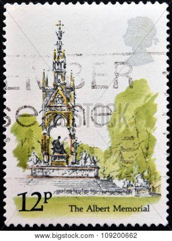A stamp printed in United Kingdom shows image of The Albert Memorial London Landmarks