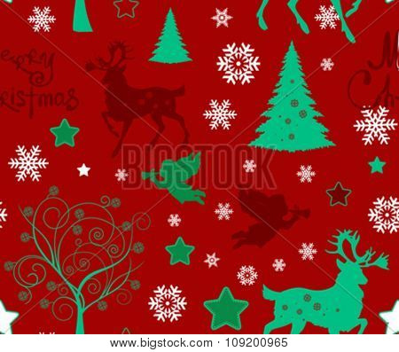 Stock Vector Illustration: Christmas seamless pattern with tree, snowflakes, angel, deer on dark background