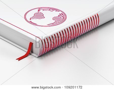 Studying concept: closed book, Globe on white background