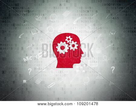 Learning concept: Head With Gears on Digital Paper background