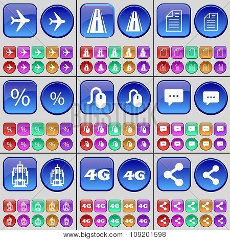 Airplane, Road, Text File, Percent, Mouse, Chat Bubble, Building, 4G, Share. A Large Set Of Multi-
