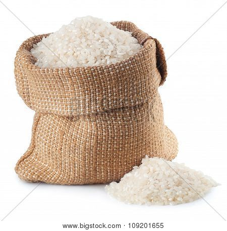 Rice In Burlap Bag