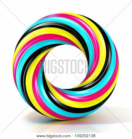 CMYK abstract circular sign with narrow stripes