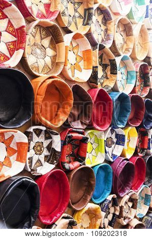 Leather handicrafts on the souk of Fez, Morocco