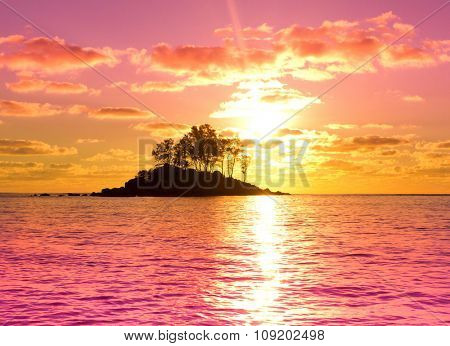 Seascape Nightfall Evening