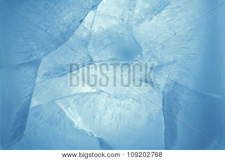Closeup of blue ice background